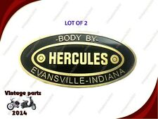 2X New Hercules Body Builders Etched Genuine Brass Data Plate Evansville Indian