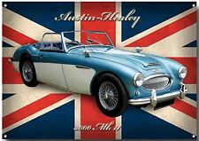LARGE A3 SIZE AUSTIN-HEALEY 3OOO MK2 ENAMELLED METAL SIGN,CLASSIC BRITISH CARS.