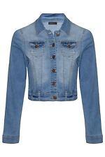 Womens Denim Stretch Bleach Wash Long Sleeve Lightweight Jean Waist Jacket