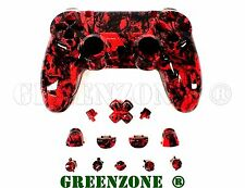 Crazy Red Skull Replacement Custom PS4 Controller Hydro Dipped Shell Mod Kit