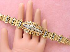 ANTIQUE 1.8ctw DIAMOND 77gm 18K BLK ENAMEL HEAVY STATEMENT BRACELET FRANCE c1900