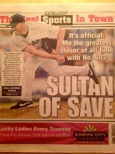 YANKEES MARIANO RIVERA ALL TIME SAVE RECORD 602 NEW YORK POST NEWSPAPER 9/20/11