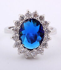 18kwgp Kate Style Oval Sapphire Engagement Ring Sz 8 in Velvet Box
