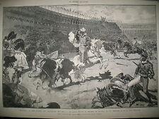 ESPAGNE MADRID FETES DU MARIAGE ROYAL CORRIDA TAUREAUX PAPE PIE IX GRAVURES 1878