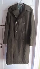 Military Issue Army Serge Green 100% Wool Overcoat Coat Mens 36 L Dale Fashions