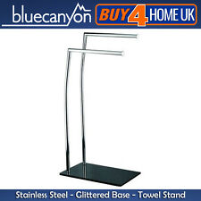 Starlight Stainless Steel Double Towel Stand - Glittered Glass Base
