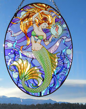 """AMIA Stained-Glass Look Large """"Mermaid"""" Suncatcher- Hand Painted"""