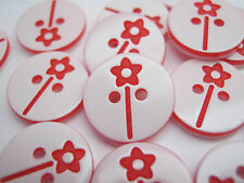 "10 Red Flower Sewing Buttons 13mm (1/2"") Red White Childrens Clothing Buttons"