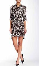 $368 DVF Diane Von Furstenberg Prita Silk Leopard Print Shirt Dress Size 4