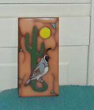 Vintage Art Pottery Tile-Southwest Design-Quail & Saguaro Cactus-2-7/8 x  5-7/8