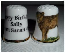 BN Personalised Fine Bone China Highland Cow Thimble  with Plastic Display Case