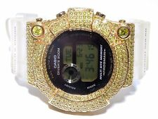 Mens 10k Yellow Gold 12.00ct Yellow Diamond Frogman Divers Casio G-Shock Watch