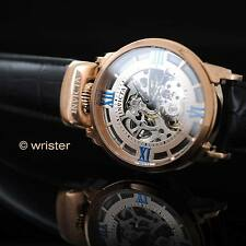 Invicta Objet D Art Automatic Skeleton Leather Rose Gold SS Top Crown Mens Watch