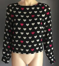 Pre-owned DIVIDED by H&M Heart Print Sheer Long Sleeve Top Size 8