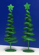 "2 Wire Spiral Metal glitter / sequins Christmas Trees - 10"" tall - Holiday decor"