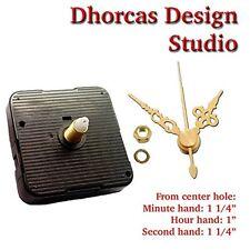"""(#017) Quartz Clock movement kit 3/16"""" threaded quiet motor & 1 1/4"""" gold hand"""