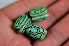 3 pcs  Rare Chinese hongshan culture Turquoise carved Turtle shell lucky beads