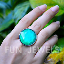 New Statement Round Mood Stone Ring Multi Color Changing Facet Stone Free Box