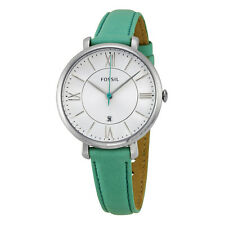 Fossil Jacqueline White Dial Teal Leather Strap Ladies Watch ES3796