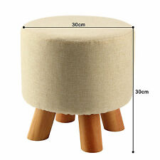 Oak Upholstered Round Footstool Ottoman Pouffe Padded Stool Solid Wooden Legs UK