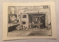 Vintage Etching Art Print Fireside From Julian Alden Weir Or Caroline Estate