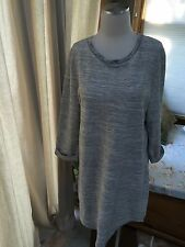 Gap Heather Gray Textured 3/4 Cuff Sleeve Shift Dress Large Excellent