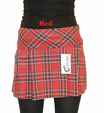 Short Mini Tartan Pleated Box Pleat Skirt- Length 14 Inch Sizes 8