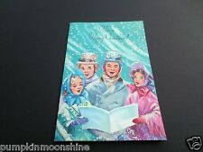 Vintage Unused Glittered Marjorie M. Cooper Xmas Greeting Card Carolers Singing