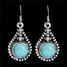 Costume Jewelry Ethnic Tibetan Silver Turquoise Bohemian Womens Dangle Earrings