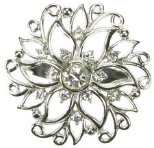 SILVER BROOCH VINTAGE PIN DIAMANTE  BRIDAL BOUQUET SHOE CAKE TOPPER - NEW UK