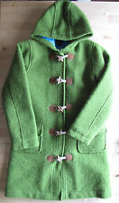 Mini Boden Size 11-12 Girls Green Wool Blend Pea Coat EUC Blue Lining Hooded