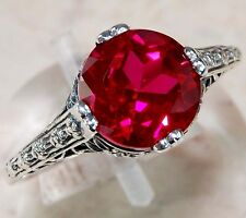 2CT Ruby 925 Solid Sterling Silver Edwardian Style Filigree Ring Sz 8, F6-9