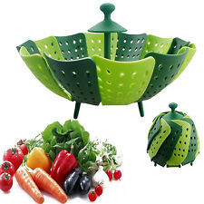 1pc PP Silicone Collapsible Fruit Vegetable Folding Steamer Basket Cooking Tools