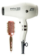 Parlux 385 WHITE Hair Dryer Powerlight Ceramic Ionic + FREE Brush + 2 Nozzles