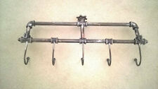 Wall Mounted Industrial Piping Vintage Retro Antique Style Metal Coat + Hat Rack