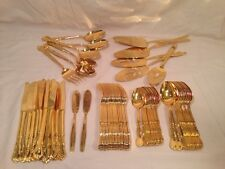 69 Piece Vintage Adcraft Stainless Steel Gold Tone Flatware Made in Japan