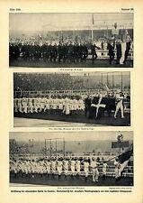 Eröffnung der olympischen Spiele in London Vorbeimarsch der deutschen Gruppe1908
