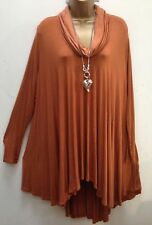 New Italian Lagenlook Rust Flared long sleeved roll neck tunic Top 16 - 28