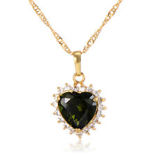 Cute jewelry Green Crystal heart Pendant long necklace Yellow Gold Filled Womens