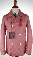 NWT ISAIA cashmere silk JACKET o Sole Mio coat quilted red luxury eu 50 us M