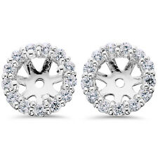 .55Ct Halo Diamond Earring Jackets 14K White Gold