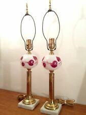 PAIR Vtg HP Milk Glass Brass TABLE LAMPS Marble Base Accent Hollywood Regency
