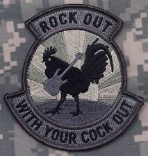 ROCK OUT WITH YOUR COCK OUT VELCRO TACTICAL BADGE MORALE MILITARY PATCH ACU