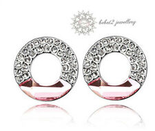 Pink Crystal Ring/Circle Stud Earring/ Swarovski Elements/White gold/RGE240S
