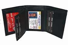Black LAMBSKIN LEATHER BLACK ID MEN's PLAIN TRIFOLD ID Window WALLET 8 slot Card
