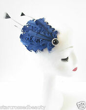 Navy Blue Black Feather Fascinator Headpiece Vintage Hair Clip 1920s 1940s O76