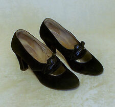 FABULOUS PAIR OF 1940s ORIGINAL SUEDE  AND LEATHER SHOES GREAT CONDITION UK 3.5