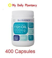Odourless Fish Oil by Bio Source 1000mg + Omega 3 400 capsules