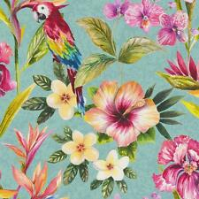 HOLDEN DÉCOR BIRD OF PARADISE FLORAL PATTERN FLOWER PARROT MOTIF WALLPAPER BLUE