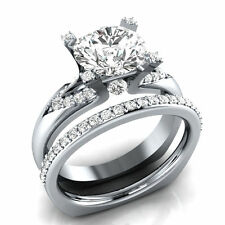 Certified 2.50ct Round cut Diamond Engagement Bridal Ring Set in 10K White Gold